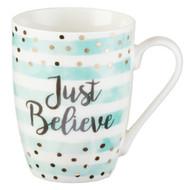 Cute Inspirational Coffee/Tea Mug for Women | Just Believe Motivational Mug | Pastel Mint Ceramic Coffee Cup 11oz