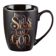 Christian Encouragement Gifts for Women? Matte Black Coffee Mug w/Metallic Font Scripture Verses ?Be Still and Know That I Am God? Psalm 46:10 ? 12oz Stoneware Mug, Christian Cup w/Handle