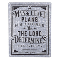 Christian at Gifts Wall Art Home D?cor | A Man?s Heart ? Proverbs 16:9 Bible Verse Inspirational Wall Plaque | Vintage Metal, 14 x 18 Inches