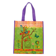 Christian Art Gifts Reusable Shopping Tote Bag | May Your Day Be Blessed Birds Butterflies Flowers | Inspirational Durable Green Tote Bag for Groceries, Books, Supplies