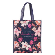 Christian Art Gifts Reusable Shopping Tote Bag | Love Mercy Peach Floral Micah 6:8 Bible Verse | Inspirational Durable Navy Blue Tote Bag for Groceries, Books, Supplies