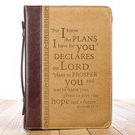 Christian Art Gifts Tan Faux Leather Bible Cover for Men and Women | I Know The Plans - Jeremiah 29:11 | Zippered Case for Bible or Book w/Handle, Large