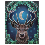 Lisa Parker Emperor Stag Set Against A Moon 7.5 x 10 Inch Canvas Plaque