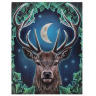 Lisa Parker Emperor Stag Set Against A Moon 7.5 x 10 Inch Canvas Plaque