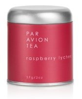 Par Avion Tea Raspberry Lychee - Black Tea Blended With Ripe Red Raspberries, Lychee Berry Juice, Pomegranate and Hibiscus - Small Batch Loose Leaf Tea in Artisan Tin - 2 oz
