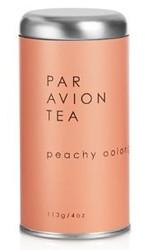 Par Avion Tea Peachy Oolong - Blended With Organic Black Tea, Green Tea, and Flower Petals - Small Batch Loose Leaf Tea in Artisan Tin - 4 oz