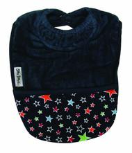 Silly Billyz Organic Towel Pocket Bib - Navy with Stars