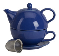 Omniware 1500135 5 Piece Tea For One Teapot Set with An Infuser, Simply Blue