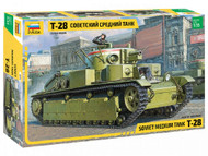 Zvezda 1:35 T-28 Heavy Tank-Plastic Construction Model Kit-Assembly-for Beginners-Detailed, Grey