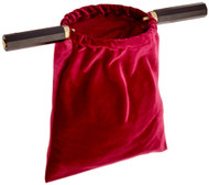 Red Velvet Church Tithe Offering Bag with Wooden Handles, 10 Inch