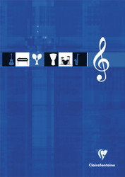 Clairefontaine Music Notepad - 12 staves per page - 8 1/4 x 11 3/4 - Assorted Colors