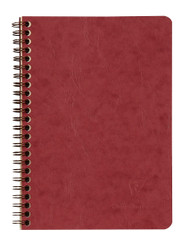 Clairefontaine Basic Wirebound Notebook w/ 3 pockets - Ruled 60 sheets - 6 x 8 1/4 - Red