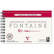Clairefontaine Fontaine Watercolor Cold Pressed 300g - Wirebound 12 Sheets - 4 3/4 x 7