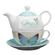 Christian Art Gifts Ceramic Teapot Set Blessings Grace Ephesians 2:8 Turquoise w Cup & Saucer