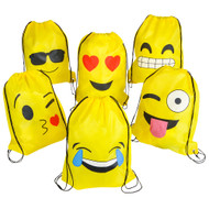 """16""""x13"""" Emoticon Drawstring Backpack 12-Pack"""