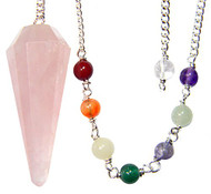 Starlinks Rose Quartz 12 Faceted Chakra Pendulum with Satin Bag and Instruction Leaflet