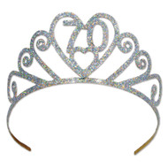 "Beistle 60633-70 Glittered Metal ""70"" Tiara, Silver"