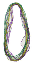 "Mardi Gras Mini Bead Necklaces - 33"" in. Each - 1 Dozen"