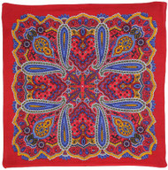 Sunshine Joy Paisley Hippie Bandana 22x22 Inches - Classic Red