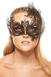 KAYSO INC Women's Venetian Phoenix Inspired Laser Cut Masquerade Mask, Black w/ Blue Stones