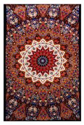 Sunshine Joy Indian Dark Star Elephant Tapestry - Orange & Blue - 60x90 Inches - Beach Sheet - Hanging Wall Art - 3D Reactive Artwork