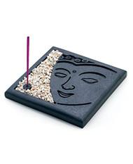 Meditating Buddha Face Incense Burner Kit with Stones