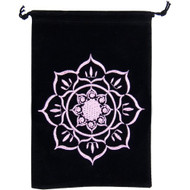 Unlined Velvet Bag Embroidered Lotus Black Wiccan Wicca Pagan