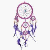 Dreamcatcher Beaded Purple Feathers Iridescent