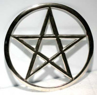 "Large Pentagram Altar Tile Silver Toned Metal 6"" inch"