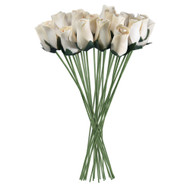 White Realistic Wooden Roses 32 Count