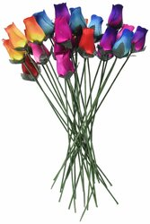Wooden Roses 2 Dozen 24 Mixed Color Bouquet of Buds Artificial Flower