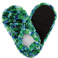 Fuzzy Footies Super Soft Slippers with Slip-Resistant Bottom (Green/Blue/White)