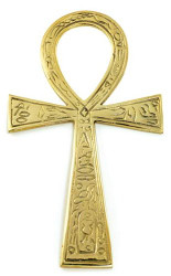 "Brass Ankh Brass Large (4x7 1/4"") for altar or wall"""