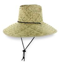 California Lifeguard Straw Beach Hat, Sun Wide Brim, One Size - Natural