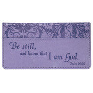 Checkbook Cover for Women & Men ?Be Still? Christian Purple Wallet, Faux Leather Christian Checkbook Cover for Duplicate Checks & Credit Cards - Psalm 46:10