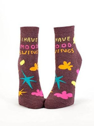 Blue Q Socks, Women's Ankle, I Have Mood Swings,One Size, Fits Women's shoe size 5-10.,Multicoloured Brown