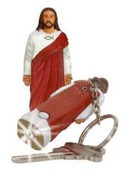 Jesus Christ Figure Flashlight Keychain Religious Ichthys Fish