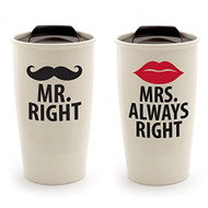Enesco 4057002 Mrs. Right Stoneware Travel Mug Set, 14 oz, Red