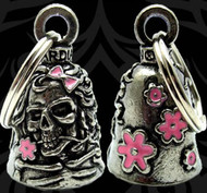 Guardian Bell Lady Skull w/ Pink Enamel Pendant Lucky Charm