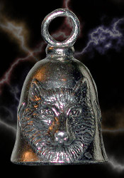 Guardian Wolf Head Motorcycle Biker Luck Gremlin Riding Bell or Key Ring