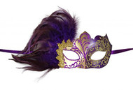 KAYSO INC Venetian Masquerade Mask with Feathers Gold & Purple