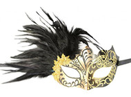 KAYSO INC Venetian Masquerade Mask with Feathers Gold & Black
