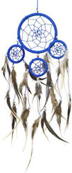 DreamCatcher ~ Blue DreamCatcher with Feathers ~ Approx 3.5 Diameter 1 Foot Long