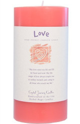 """6"""" x 3"""" Crystal Journey Herbal Magic Reiki Charged Pillar Candle, Love,"""