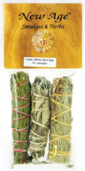 Cedar, White, Blue Sage Smudge Pack, 4-inch, Pack of 3