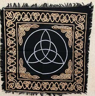"Altar Tarot Cloth: Triquetra - 24"" x 24"" (Gold/Silver on Black Triquetra/Charm Design)"