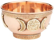 "Triple Moon Pentacle Copper Offering Bowl 3"", great for altar use, ritual use, incense burner, smudging bowl, decoration bowl, offering bowl - New Age Imports, Inc."