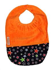 Silly Billyz Towel Pocket Bib, Orange, 3 mos - 3 Yrs