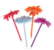 """Lot Of 12 Assorted Color Flower Daisy Pens - 7"""""""