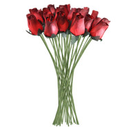 Red Realistic Wooden Roses 32 Count